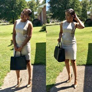 White, Tan and Gold Calvin Klein Dress